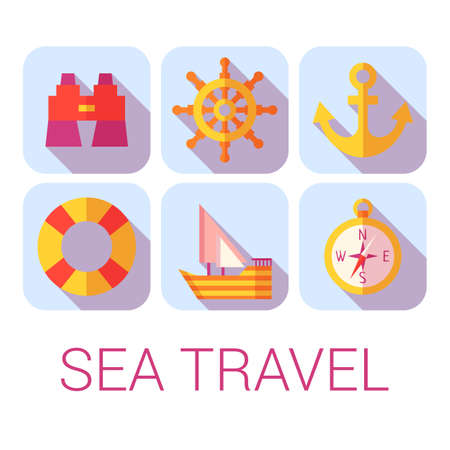 Vector sea travel icons in flat style. Illustration