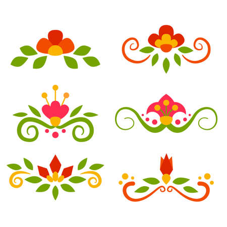 separators: Vector set of floral fairy separators in flat style.