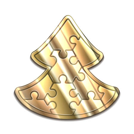 hexahedron: Vector christmas tree maded from hexahedron puzzles Illustration