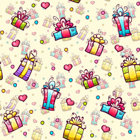 Vector seamless pattern with gift boxes and hearts Vector