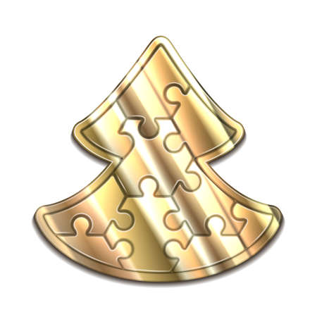 hexahedron: Christmas gold tree maded from hexahedron puzzles Stock Photo