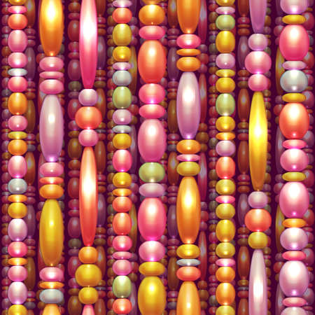 tawdry: Seamless pattern with a shiny colored beads Stock Photo