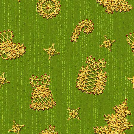 Seamless Christmass green pattern with same symbols. photo