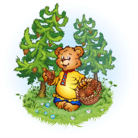 Illustration of bruin bear with pine cones on landscape Stock Photo