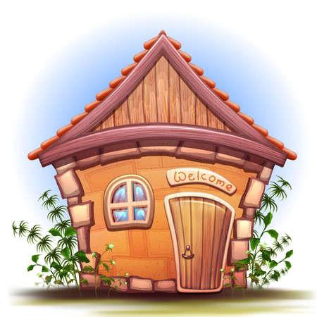 Illustration of cartoon home on white background