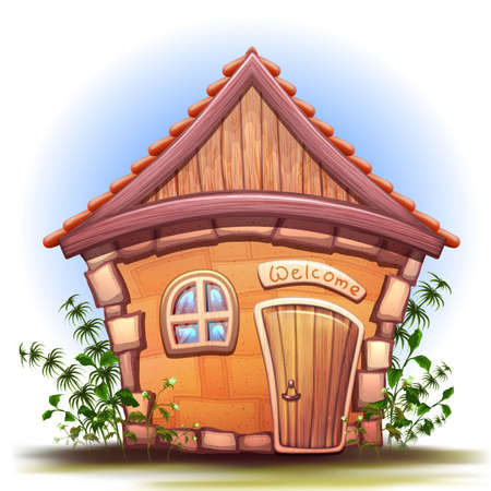 Illustration of cartoon home on white background