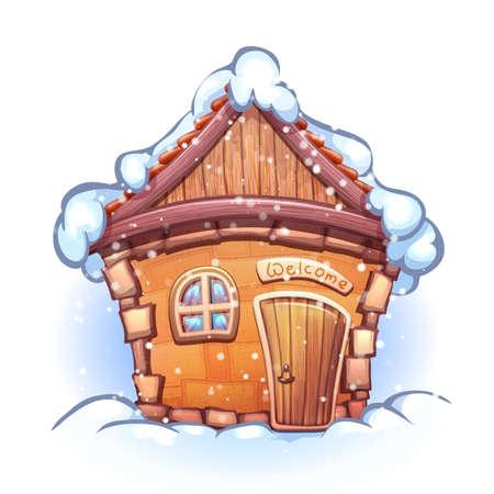Illustrazione di cartone animato casa inverno con la neve