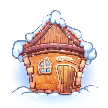 Illustration of winter cartoon home with snow