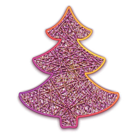 firtree: Vector illustration of fir-tree embroidered on cardboard.