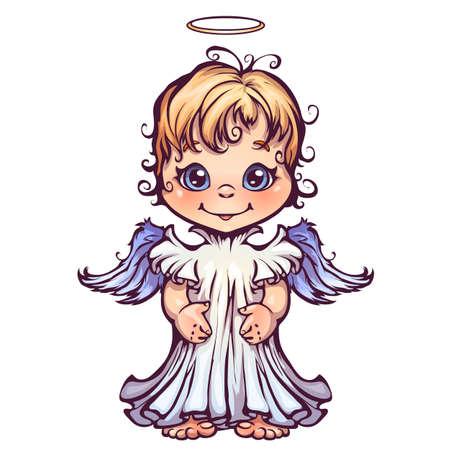 Vector illustration of cute angel in cartoon style