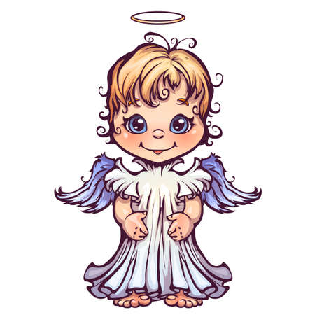 Vector illustration of cute angel in cartoon style