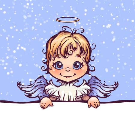 텍스트에 대 한 패널로 귀여운 천사의 벡터 일러스트 레이 션.