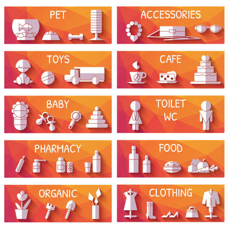 toy toilet bowl: Vector set of market signages in flat style. Illustration