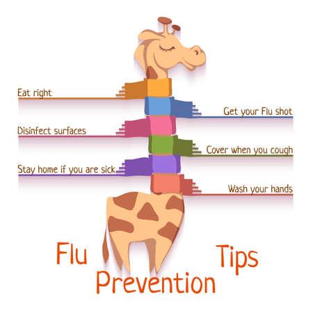 flu prevention: Flu Prevention Tips. Vector illustration with giraffe. Illustration