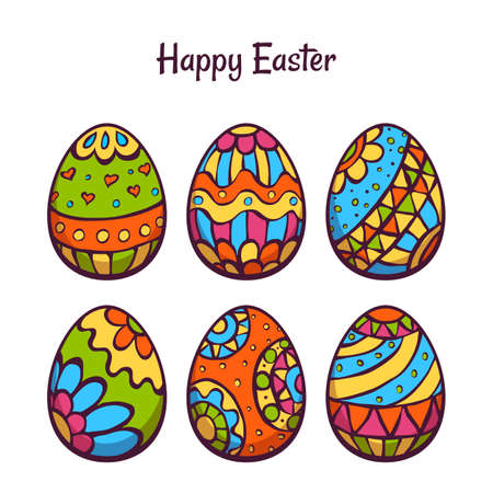 Vector set of cartoon color eggs for Easter. Illustration
