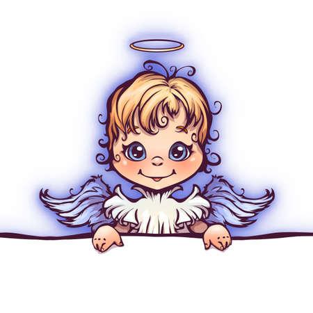 Vector illustratie van schattige engel met paneel voor tekst.