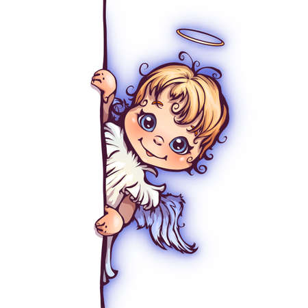 angel white: Vector illustration of cute angel with panel for text.