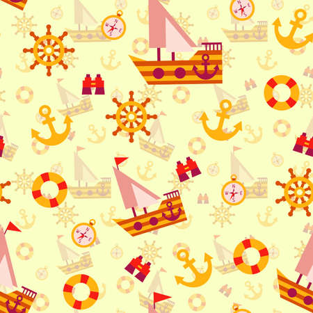 hovercraft: Vector seamless pattern with sea travel elements. Illustration