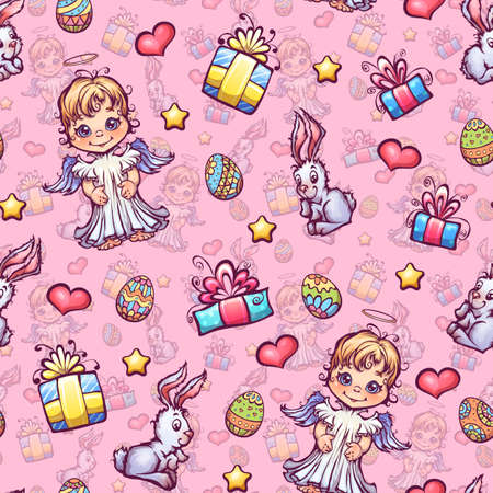 Vector seamless pattern of cartoon Easter elements. Vector