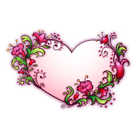 Vector illustration with heart and cartoon flowers. Vector