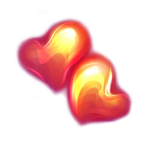 glamorous couple: Vector illustration of red glossy hearts on white background
