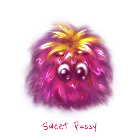 enzyme: Vector sweet pink pussy on white background. Illustration
