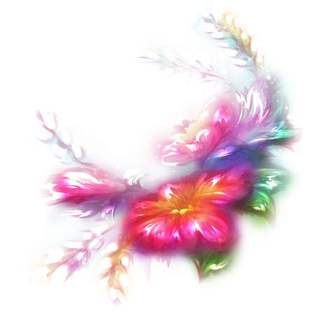 Vector illustration of beautiful flower on white background. Vector