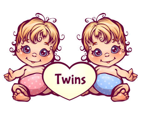 Vector illustration of cartoon little baby twins. 矢量图像