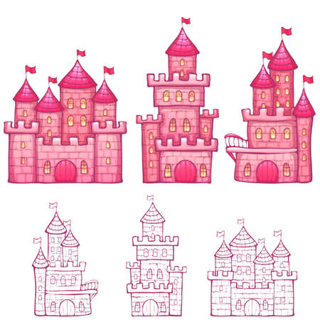 turret: Vector illustration of Cartoon fairy tale castle. Illustration