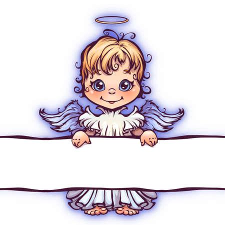 menina: Ilustração do vetor do anjo bonito com o painel para o texto. Ilustração