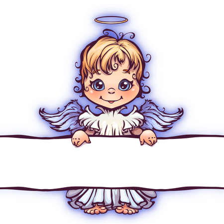 color image: Vector illustration of cute angel with panel for text.