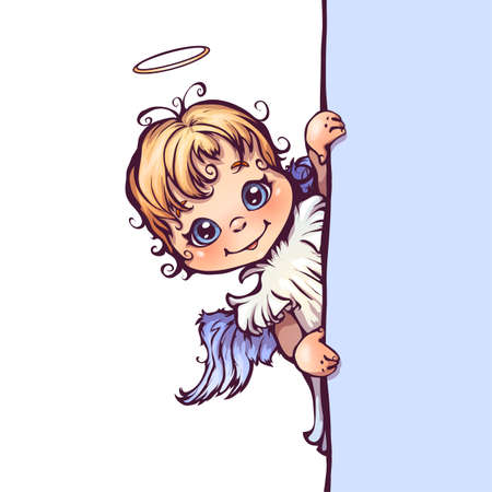 halo: Vector illustration of cute angel with panel for text.