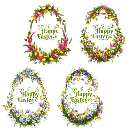 Vector set of floral color eggs for Easter . Vector