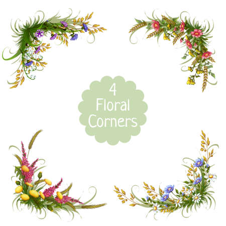 corners: Vector 4 floral corners on transparent background.