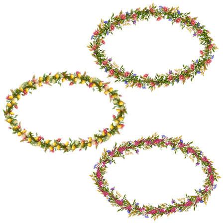 Vector floral oval frames for your design. Vector