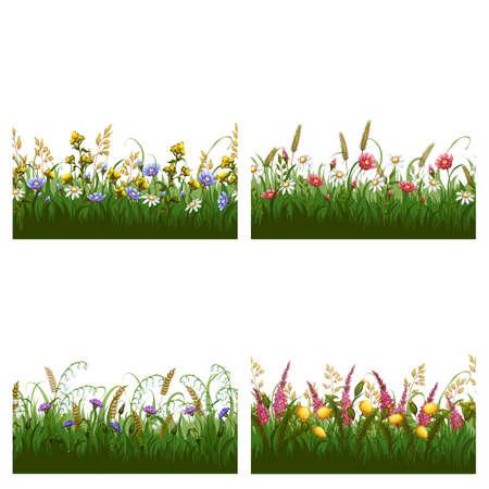 Vector set of seamless horizontal floral patterns. Illustration