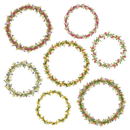 Vector floral circle frames for your design. Vector