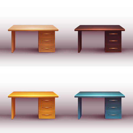 shelve: Vector set of realistic office wooden desk with shelves.