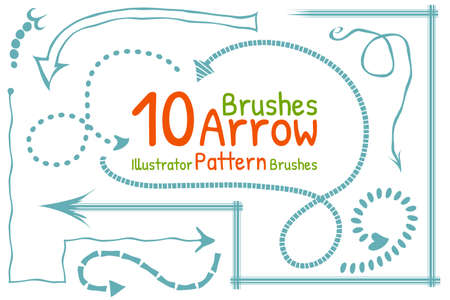 ilustration and painting: 10 illustrator pattern doodle brushes with arrows Illustration