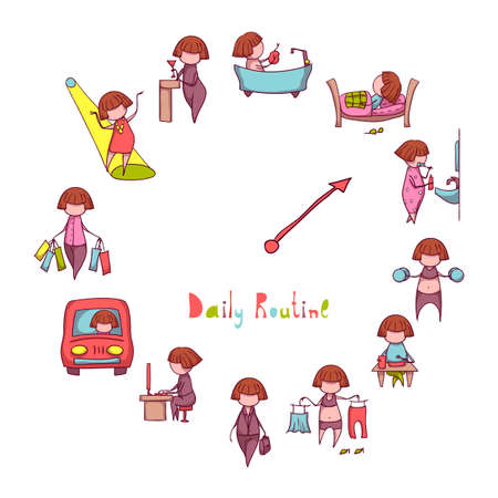 wake: Daily Routine. Vector set with funny girl. Illustration
