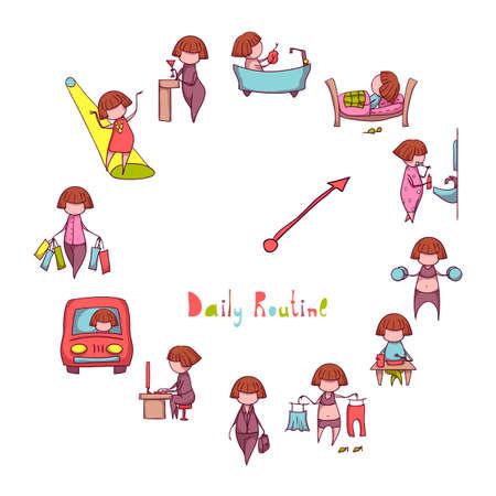 daily routine: Rutina Diaria. Vector set con la chica divertida.