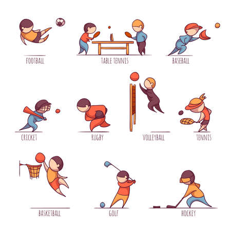 male tennis players: Vector set of 10 sports, such us football, tennis and etc
