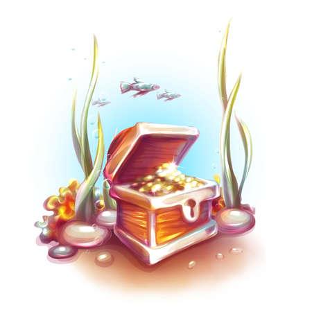 Vector illustration of treasure chest in ocean.