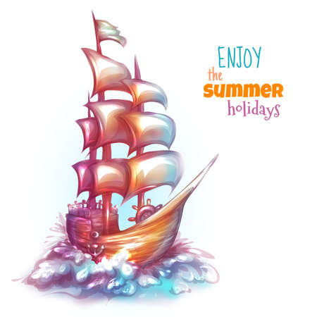 galley: Vector illustration of sail ship with label. Illustration