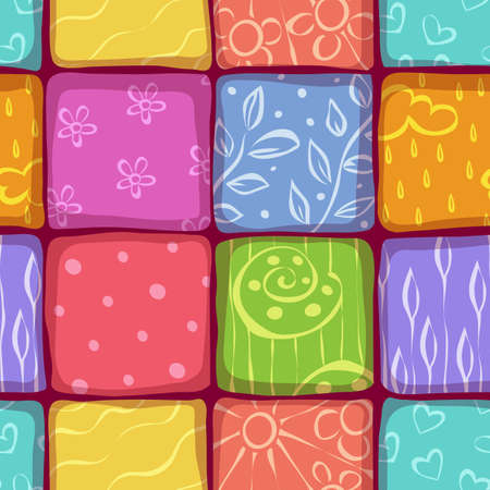 Vector mosaic seamless pattern with cartoon illustrations