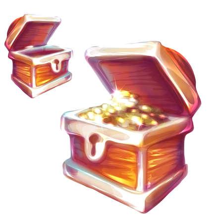 Vector illustratie van de schatkist met en zonder munten. Stock Illustratie