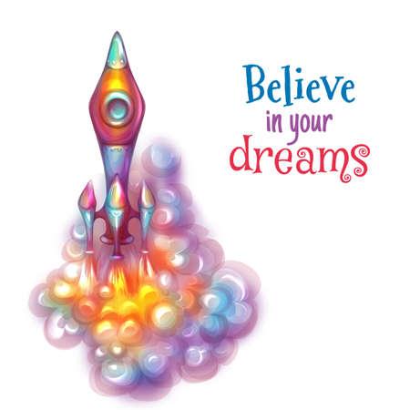 vapor trail: Vector illustration of brightly rocket with label. Illustration