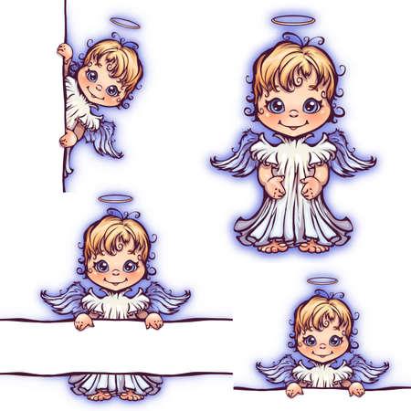 angeles bebe: Vector conjunto de ángel lindo con el panel de texto.