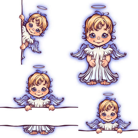 halo: Vector set of cute angel with panel for text.