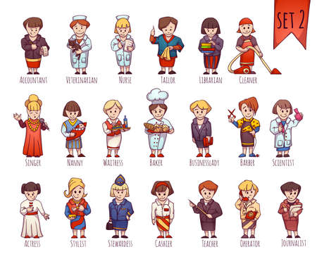 Vector set of business people, such as accountant, veterinarian, nurse and other. Twenty female occupations